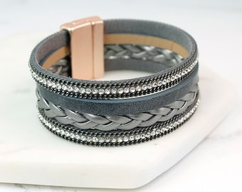 Personalised Grey Leather Layered Bracelet with Crystals and Chains