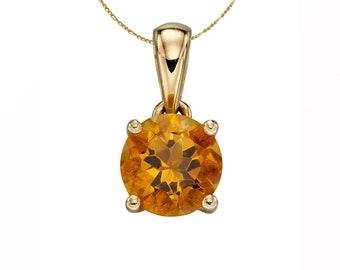 Yellow Gold November Birthstone Citrine Pendant Necklace