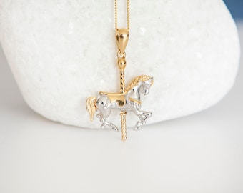 Sterling Silver Carousel Horse at the Fair Pendant Necklace with 18ct Yellow Gold Accents