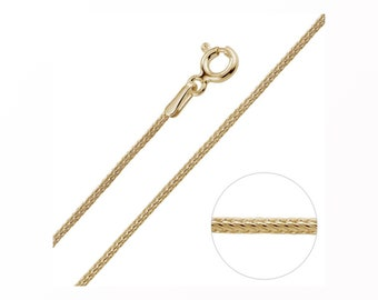 0.8mm Foxtail Chain 14 16 18 20 22 24 28 inches* 9ct Yellow Gold Dipped Sterling Silver * Best for Men, Women