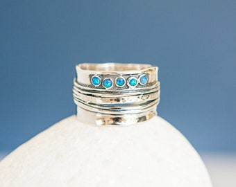 Organic Sterling Silver Ring with Five Blue Opal Gemstones