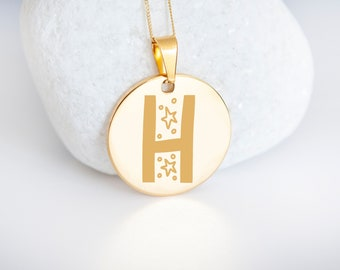 Personalised 9ct Yellow Gold Initial 'H' Alphabet Pendant Necklace