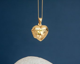 18ct Yellow Gold Dipped Heart Locket Pendant Necklace