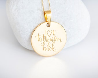 Personalised 9ct Yellow Gold Coin Disc Pendant Necklace - I Love You To The Moon and Back