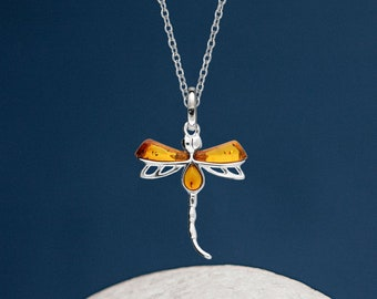 Personalised Sterling Silver Honey Amber Gemstone Dragonfly Pendant Necklace