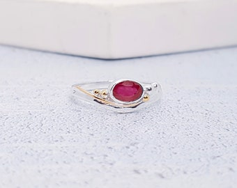 Sterling Silver Pink Ruby Ring for Women * Personalized With Up To 40 Characters * Organic Gemstone Ring *