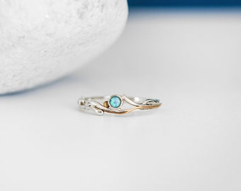 Sterling Silver Organic Slim Ring with Round Blue Opal Gemstone