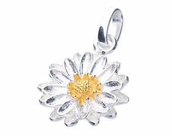 Sterling Silver and 18ct Gold Aster Necklace for Women or Girls * Personalized with 40 Characters * September Flower Nature Pendant Design