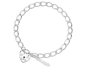 0.7mm Curb Bracelet Heart Lock Chain * 6 7 8 inches * Sterling Silver * Ideal for Clip Charms * Lightweight