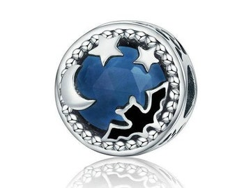 Bat with Moon and Stars Charm Bead * Sterling Silver * 4.5mm Inner Diameter * Fits most European Charm Bracelets