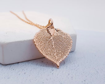 18ct Rose Gold Aspen Leaf Necklace for Women or Girls * Personalized with 40 Characters * Genuine Electroplated Leaf Nature Pendant