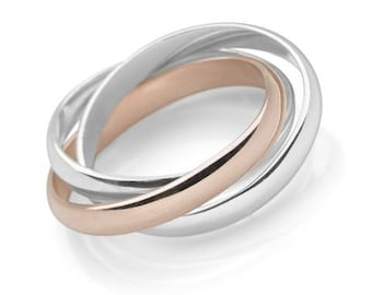 Personalized Sterling Silver and 18ct Rose Gold Russian Interlocking Triple Stacking Ring for Women or Men