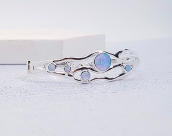 Sterling Silver Blue Opal Gemstone Bangle Bracelet for Women