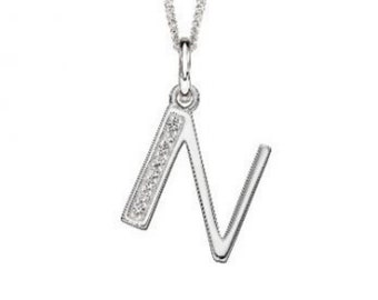 18mm Initial Pendant Necklace * Sterling Silver * Art Deco * Personalised * N