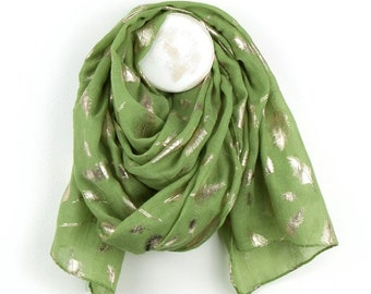 Personalised Pistachio Green Scarf with Metallic Rose Gold Feather Print - 70cm x 180cm