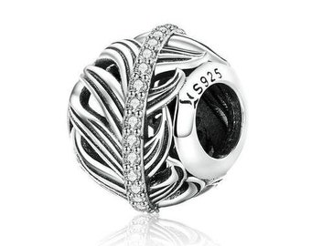 Feather Charm Bead * Sterling Silver * 4.5mm Inner Diameter * Fits most European Charm Bracelets