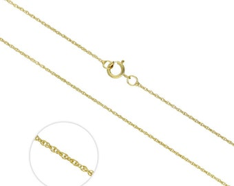 1mm Rope Chain * 16 18 inches * 9ct Yellow Gold * Prince of Wales *