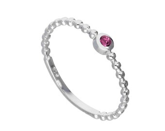 Personalized Sterling Silver and Alexandrite Cubic Zirconia Beaded Stacking Ring - June Birthstone
