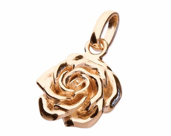 18ct Rose Gold Rose Necklace for Women or Girls * Personalized with 40 Characters * June Flower Nature Pendant Design
