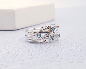 Personalized Sterling Silver Sky Blue Topaz Ring for Women * Organic Gemstone Ring