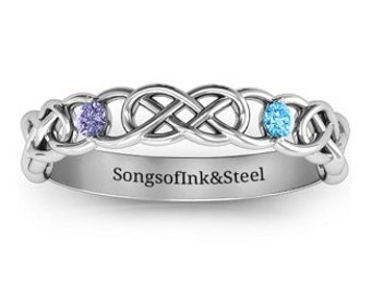 Personalised Birthstone Celtic Love Knot Ring * Sterling Silver * Personalised Ring * Minimalist * Anniversary * Engagement