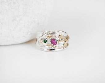 Sterling Silver Ring with Ruby and Emerald Gemstones on a Silver Band with Gold Fill Details