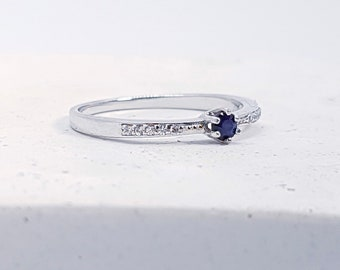 UK O Sapphire, Cubic Zirconia Stacking Ring * Sterling Silver * Slim Ring * Band Ring * Minimalist * Dainty * Geometric Jewelry * Circles