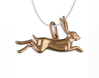 Personalized 18ct Rose Gold Dipped 3D Leaping Woodland Hare Pendant Necklace