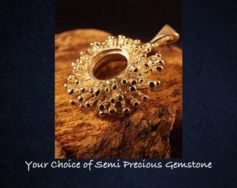 Sterling Silver Sunshine Pendant Necklace * Choice of 10mm Semi Precious Gemstone *