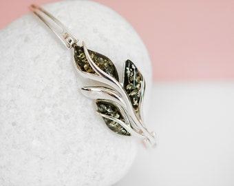 Sterling Silver Leaf Bangle Bracelet with Green Baltic Amber Gemstones