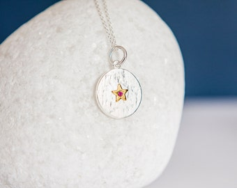Sterling Silver and 18ct Gold Star July Ruby Birthstone Pendant Necklace