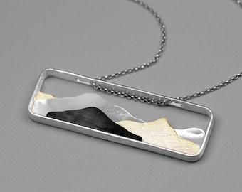 Personalised Mountain Necklace * Sterling Silver * Shell Pendant * Wanderlust Jewelry *