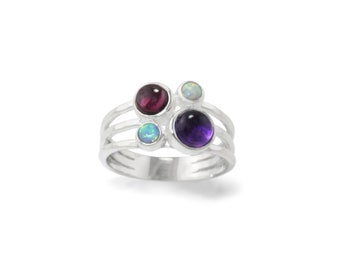 Personalized Sterling Silver Blue Opal, Amethyst and Garnet Gemstone Ring for Women - February and October Birthstones