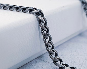 3.5mm Oxidised Curb Chain for Men * 20 22 24 inches * Sterling Silver * Oxidised