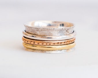 Sterling Silver Spinner Ring for Women * Personalized With Up To 10 Characters * Brushed Wide Band * Custom Thumb Ring *