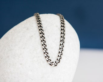 Sterling Silver Oxidized Curb Chain Necklace - 20 22 24 Inch