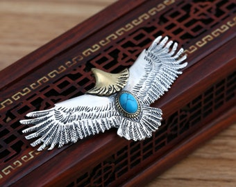 Sterling Silver Eagle Necklace with Turquoise Gemstone for Men or Women