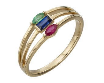 Ruby, Sapphire, Emerald Ring * 9ct Yellow Gold * Unique Womens Engagement Ring