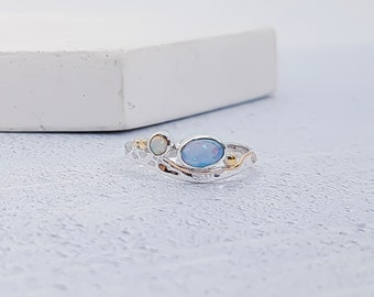Personalized Sterling Silver Blue and White Opal Ring for Women * Organic Gemstone Ring