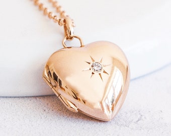Personalized Rose Gold Heart Locket Necklace * 2 Picture Photos * Memorial Keepsake * Mourning Charm *