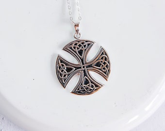 Personalized Sterling Silver Celtic Cross Necklace for Men or Women * Heritage Cross Pendant Design