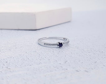 UK O / US 7 Sapphire, Cubic Zirconia Stacking Ring * Sterling Silver * Slim Ring * Band Ring * Minimalist * Dainty * Geometric