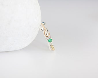 Sterling Silver and Emerald Ring With Gold Fill Details