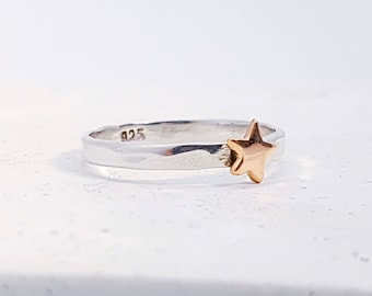 UK P Copper Star Stacking Ring * Sterling Silver * Slim Ring * Band Ring * Minimalist * Dainty * Hammered