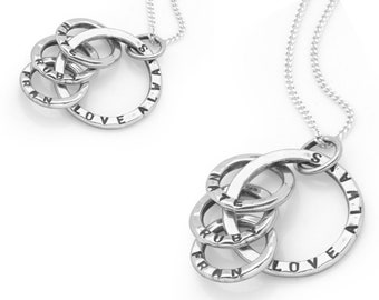 Sterling Silver Mothers Necklace for Women * Personalized with 4 Names * Four Circles of Love Pendant Jewelry Design
