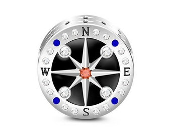 Compass Charm Bead * Sterling Silver * 4.5mm Inner Diameter * Fits most European Charm Bracelets