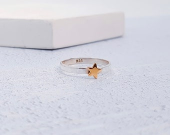 UK P / US 7.5 Copper Star Stacking Ring * Sterling Silver * Slim Ring * Band Ring * Minimalist * Dainty * Hammered