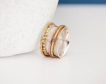 UK L | 5.5US | EU52 Multi Toned Gold and Sterling Silver Spinner Ring