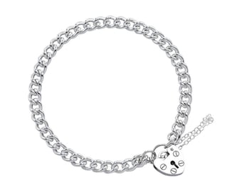 0.7mm Curb Bracelet Heart Lock Chain * 7 8 inches * Sterling Silver * Ideal for Clip Charms * Heavyweight