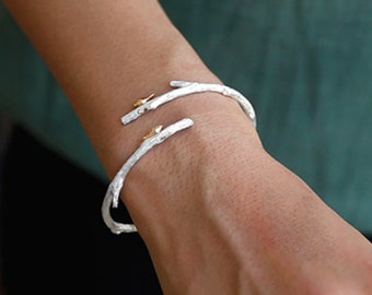 Sterling Silver and 14ct Gold Bird Cuff Bracelet for Women * Personalized with 40 Characters * Two Birds on Twig Cuff Bangle * Nature
